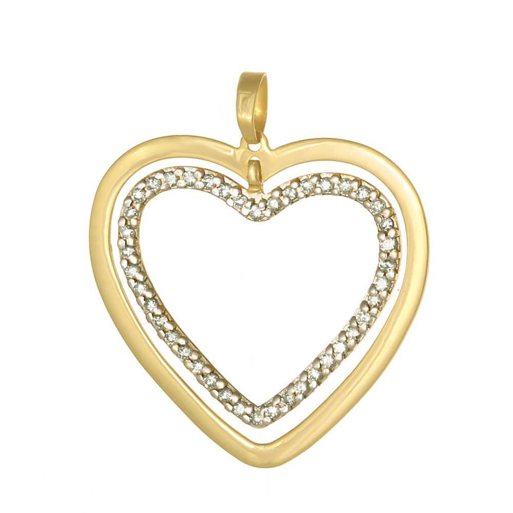 ed98dd86db18e Pingente em Ouro e Diamante. AJAC9535. 2-Coracoes-Vazados-Polido-Crav