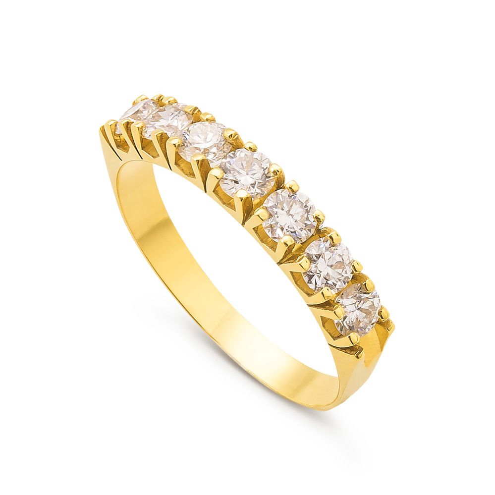 f92fedfc5d158 Meia Aliança Brilhante em Ouro e Diamantes 65 pontos - BIGBEN