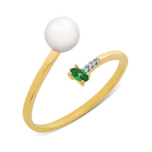 fe9b5821f Anel em Ouro, Diamante, Esmeralda e Pérola - BIGBEN